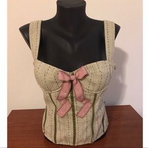 Green and Pink Lace Up Bustier Top